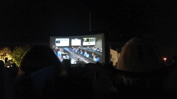 Mission control for MSL/Curiosity Landing at NASA JPL via the big screens at NASA Ames.